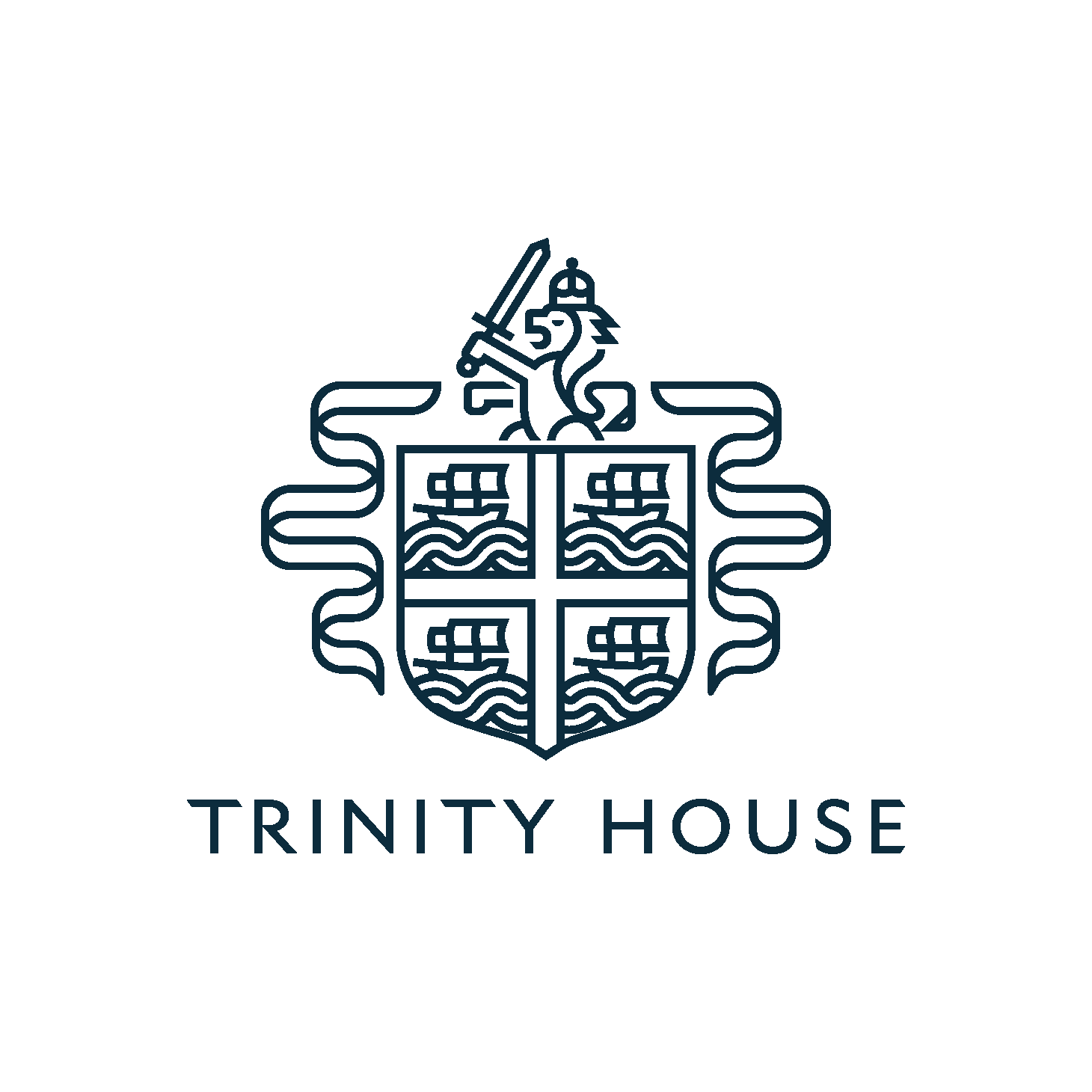 A white circle with the Trinity House logo in the centre.