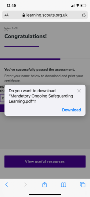 A screenshot of the download again e-learning