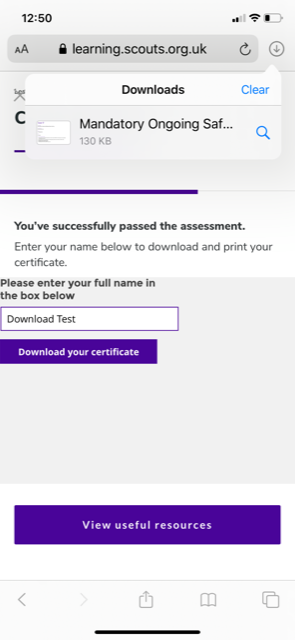 Download test screenshot from elearning