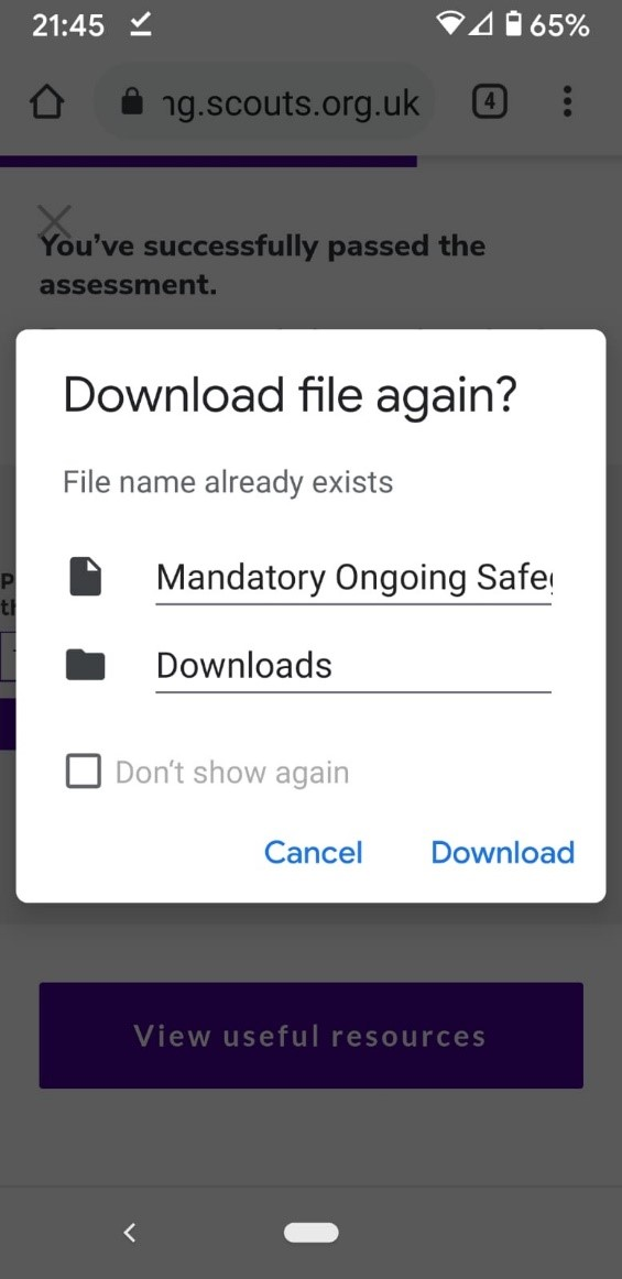 a screenshot of download the file again