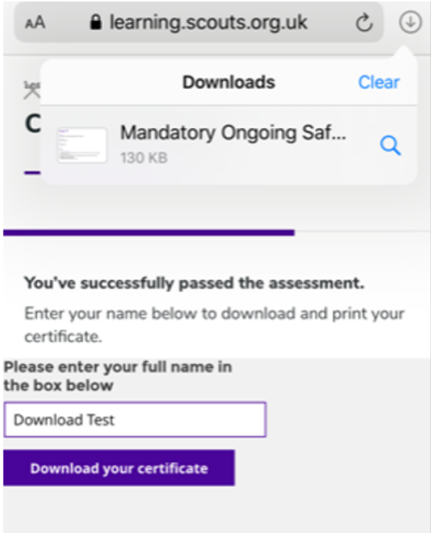 a screenshot showing download your certficate