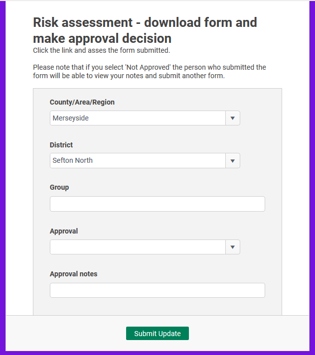 A screenshot of the risk assessment download form