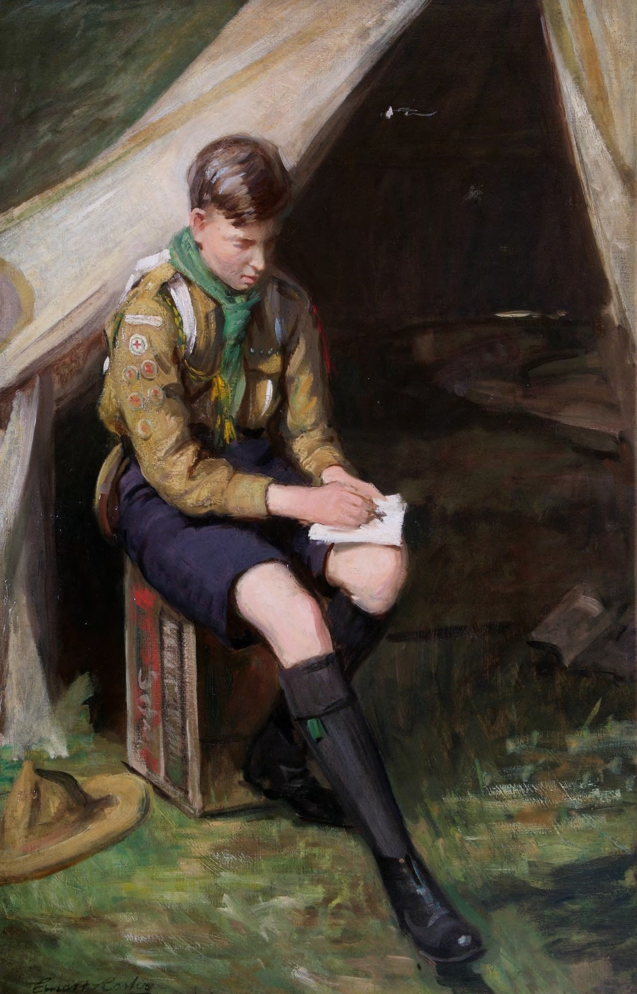 Scout Ernest Stafford Carlos's painting 'Time for Thought'.