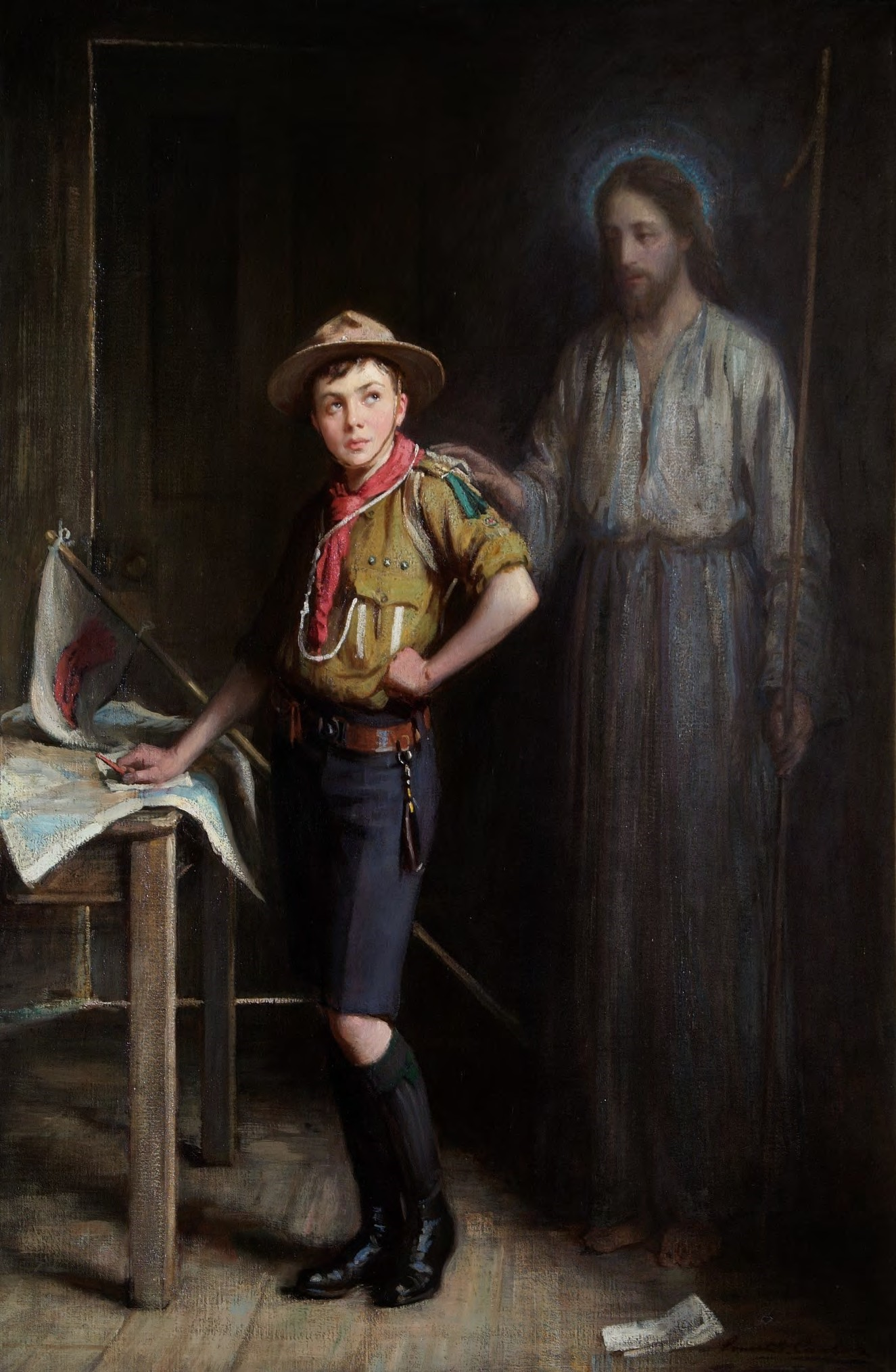 Scout Ernest Stafford Carlos's painting 'The Pathfinder'.