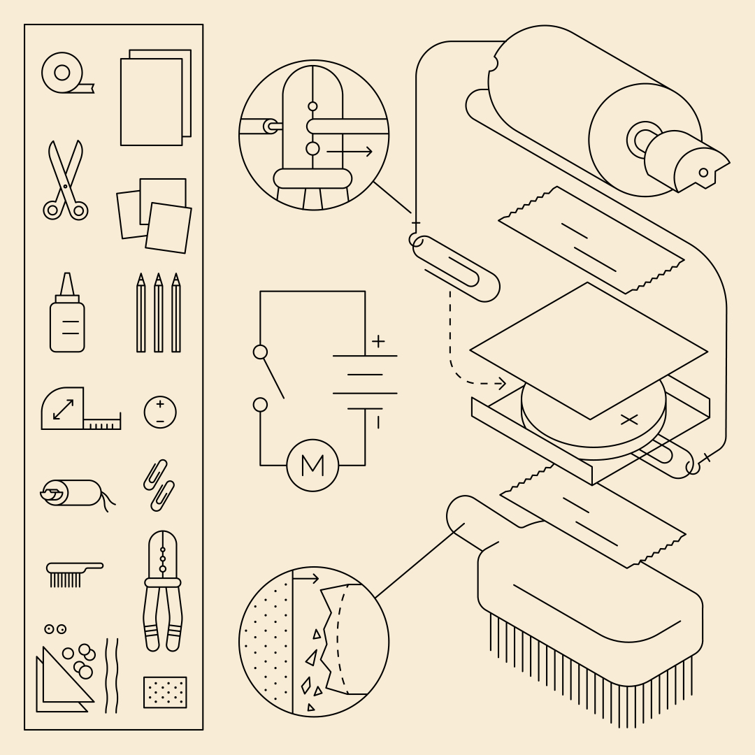 A line drawing of the items needed to create a motorised brush.