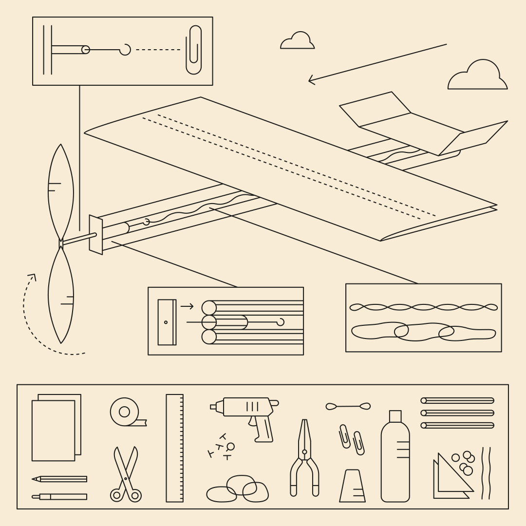 A line drawing of the items needed to create a paper glider, and how to construct it.
