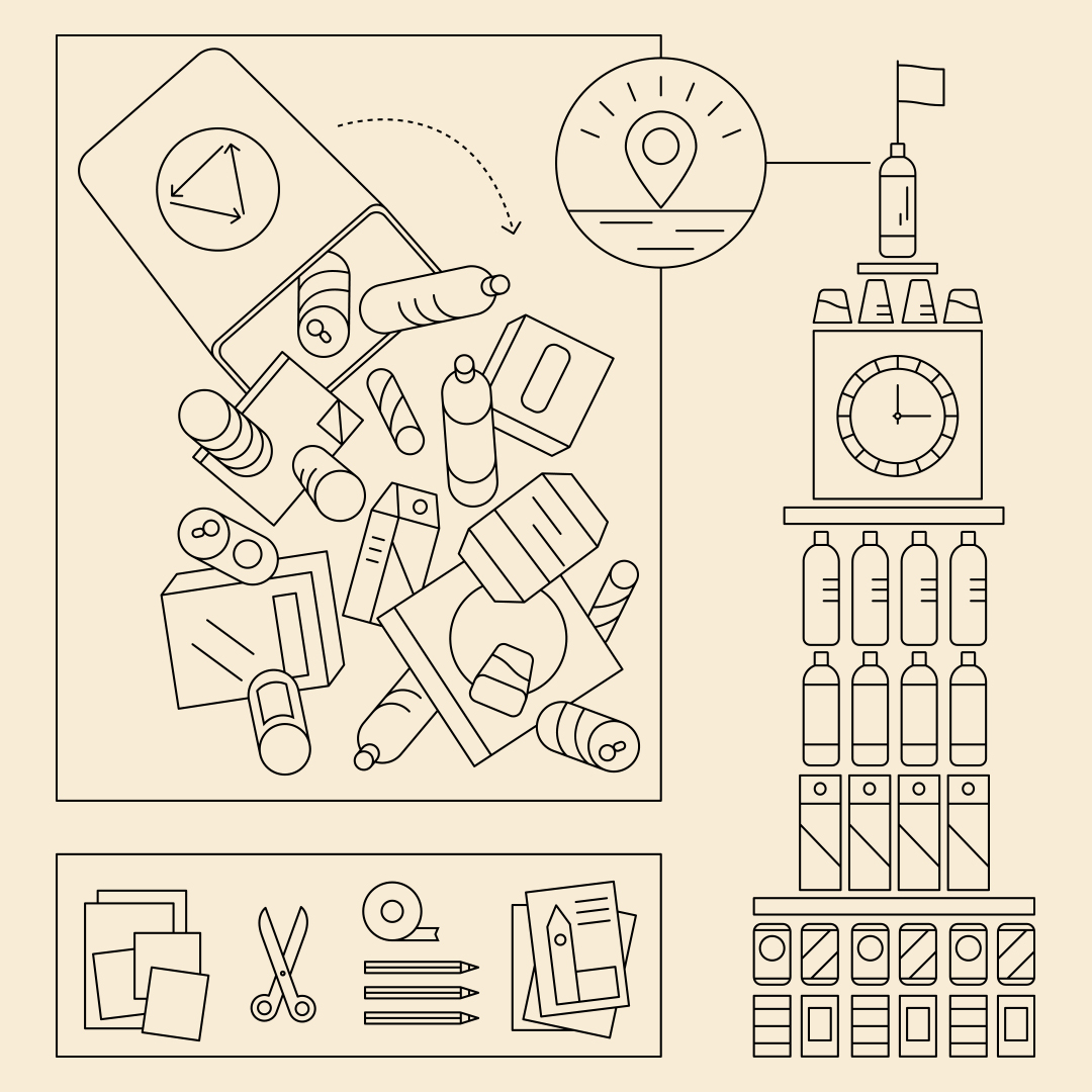 A line drawing of a bin full of recyclable materials that are stacked together to create an Eiffel Tower model.