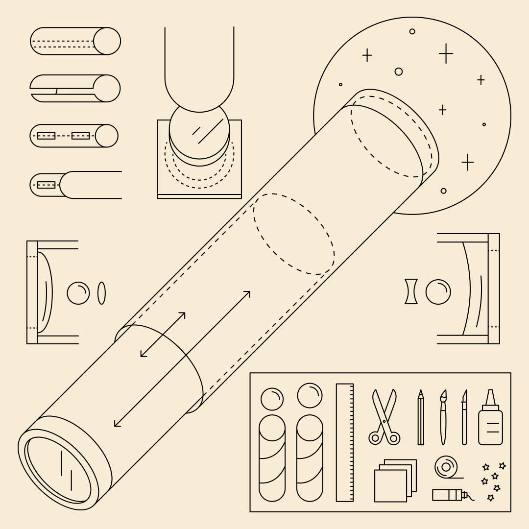 A line drawing of the items needed to DIY your own telescope.