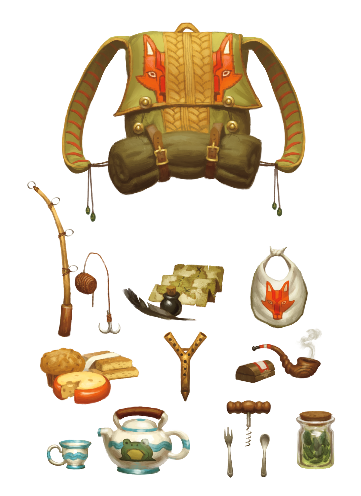 A collection of items including a backpack, fishing rod, a teapot and some cheese