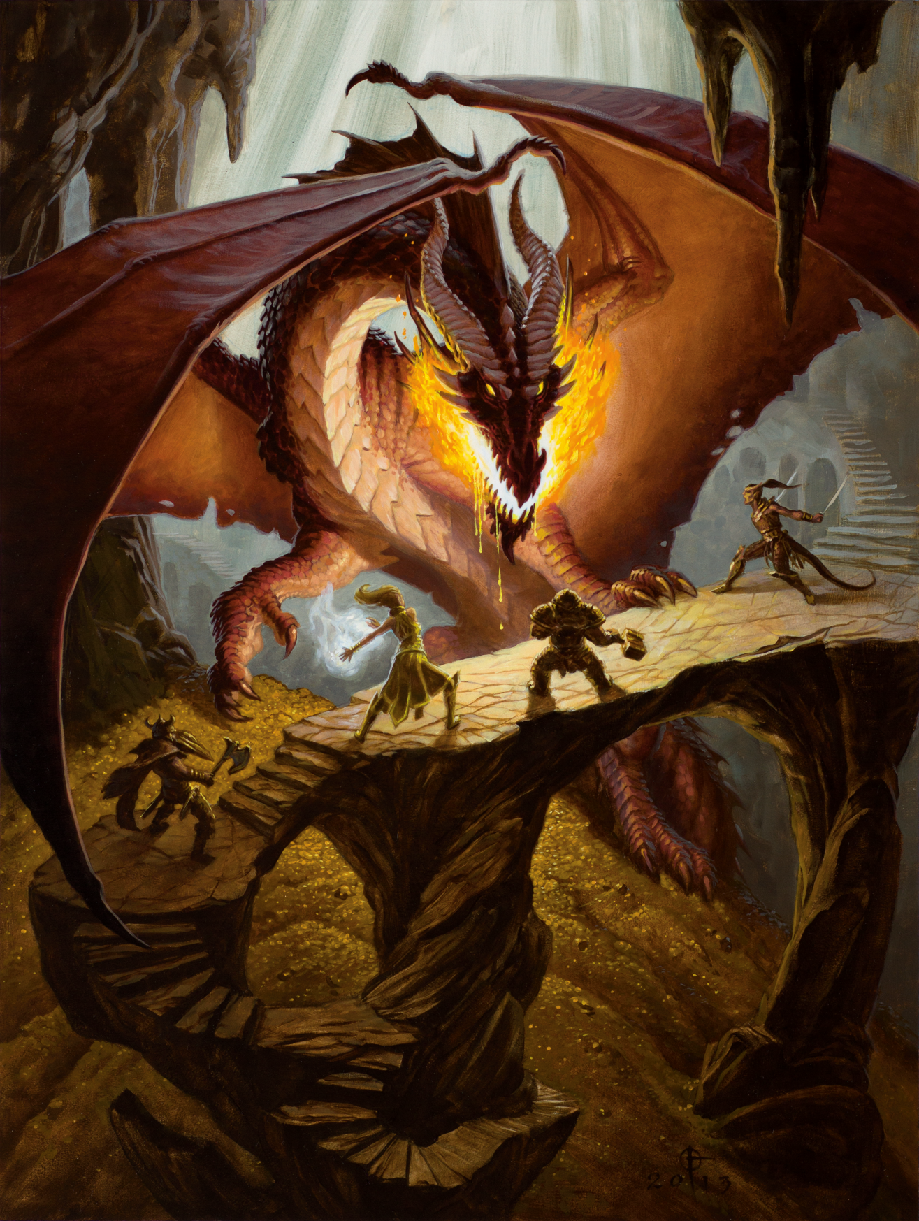 An image showing a group of characters fighting a dragon