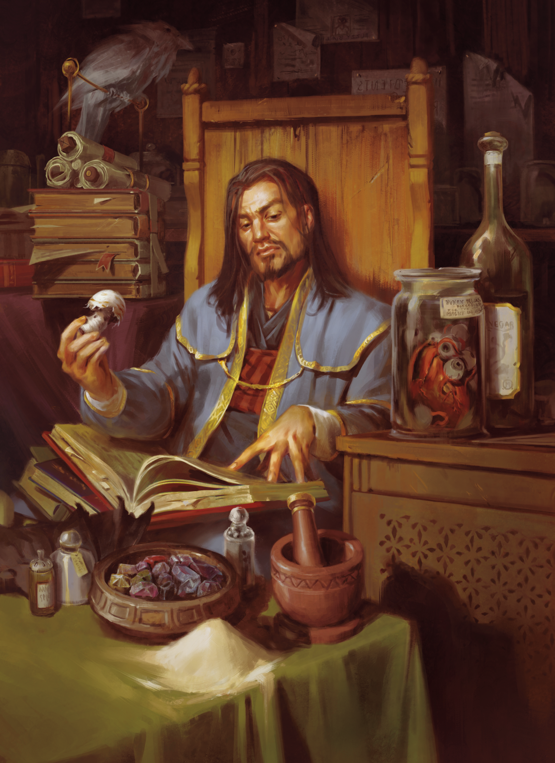 A Dungeons and Dragons character holding a large mushroom and reading a book