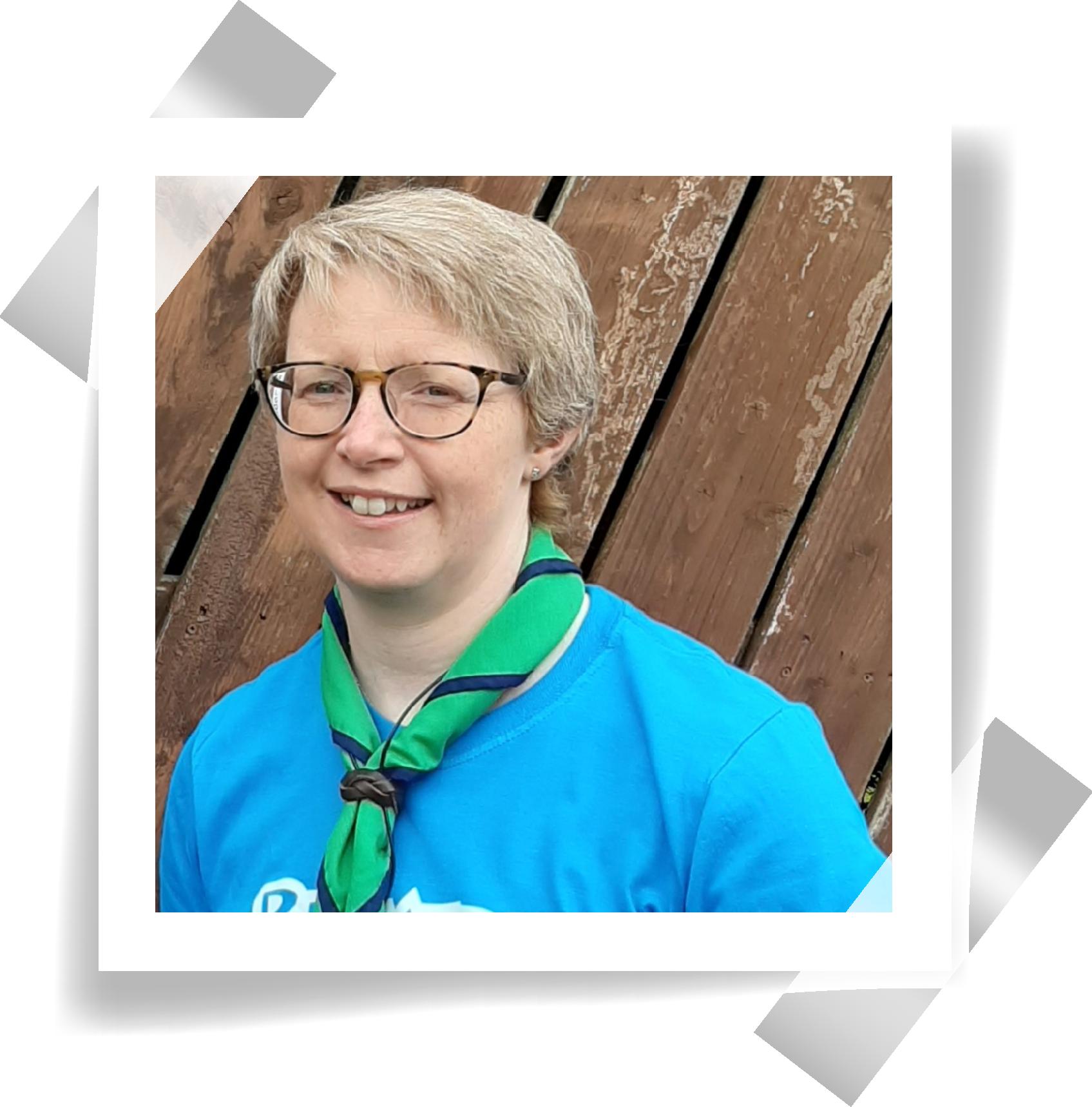 A polaroid of UK Beaver Adviser, Barbara.