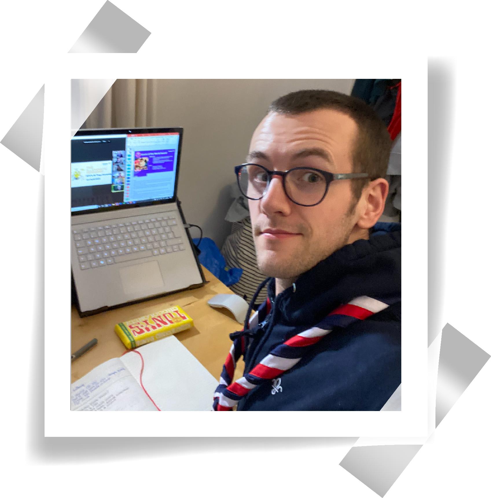 A polaroid of UK Network Adviser, Lewis.