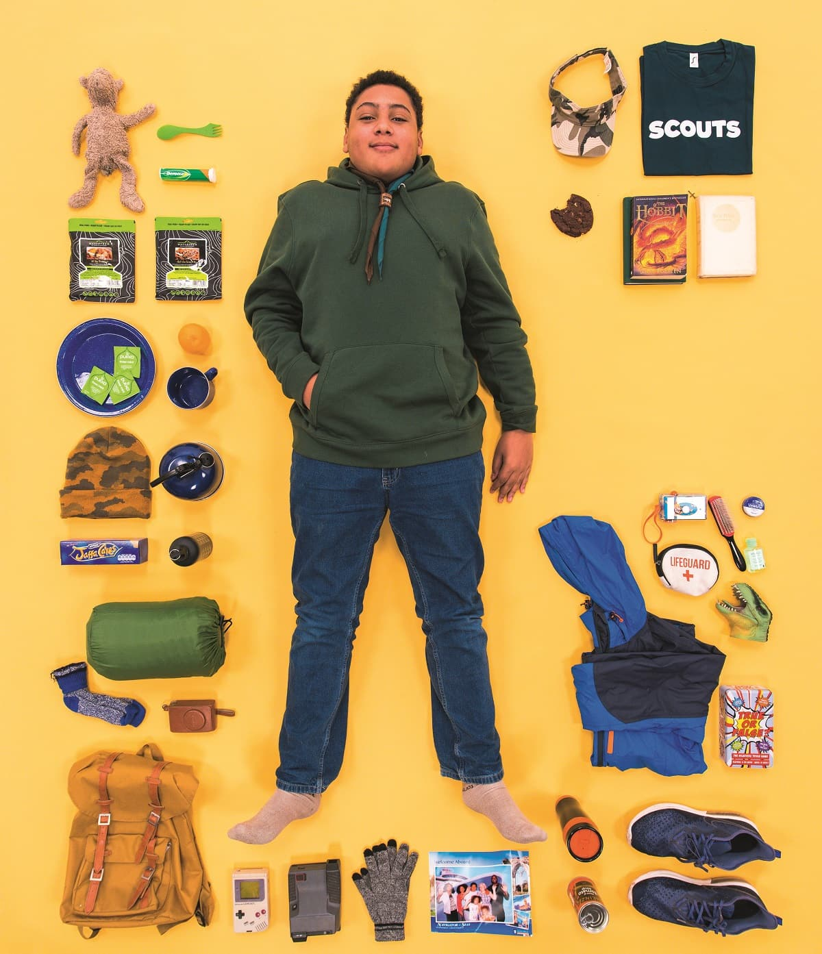 Ivie, a scout, with all of his favourite things he takes on camp
