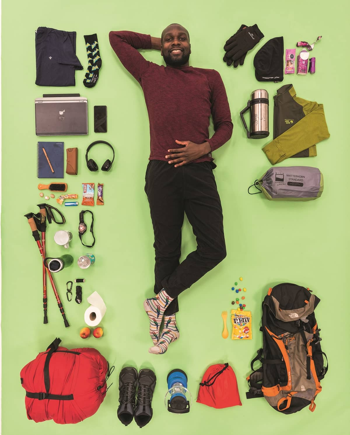 Dwayne Fields, a Scout Ambassador, with all of his favourite things he likes to take on camp