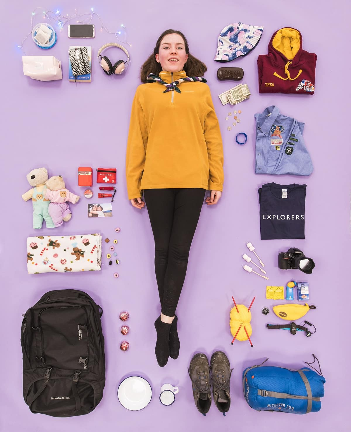Thea, an Explorer scout, with all of her favourite things she takes on camp