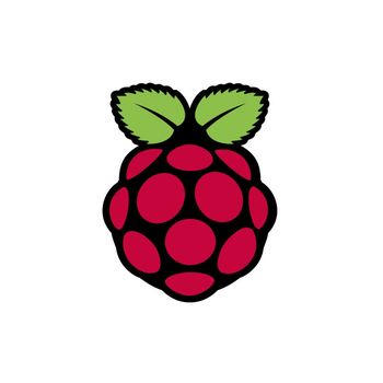 Graphic of red raspberry with green leaves. This is the Raspberry Pi logo