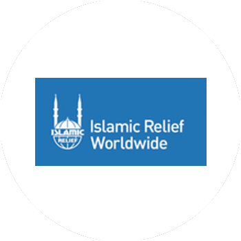 The Islamic relief logo in blue and white