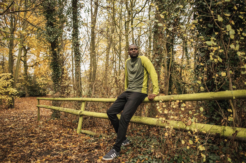 Dwayne Fields in a forest
