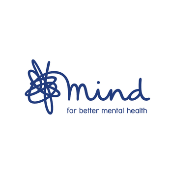 The blue mind logo which says for better mental health