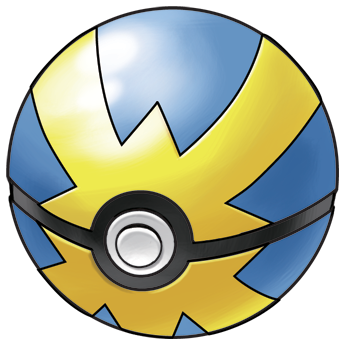 A drawing of the Pokémon Quick Ball. This spherical object is blue and decorated with yellow lightening bolts connecting in in the middle. There is a grey button, outlined in black, in the centre.