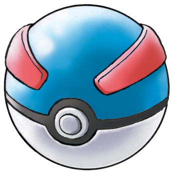 A drawing of the Pokémon Great Ball. This spherical object has a blue top half with two red stripes and a white bottom half. There is a grey button, outlined in black, in the centre.