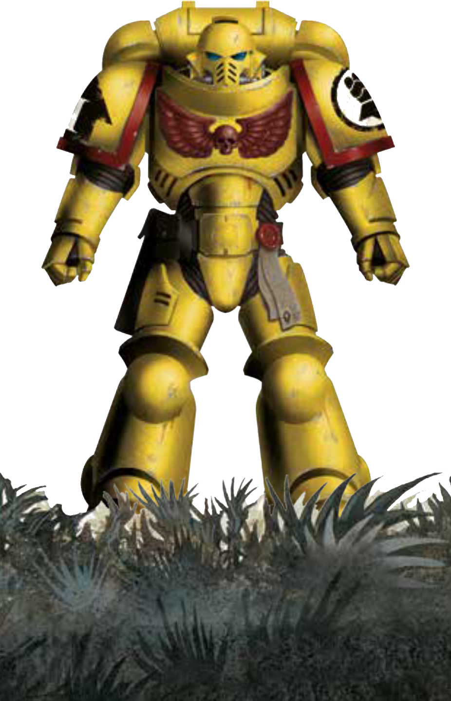 An image of the Warhammer character, Space Marine.